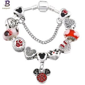 Mickey and Minnie Mouse Charm Bracelet
